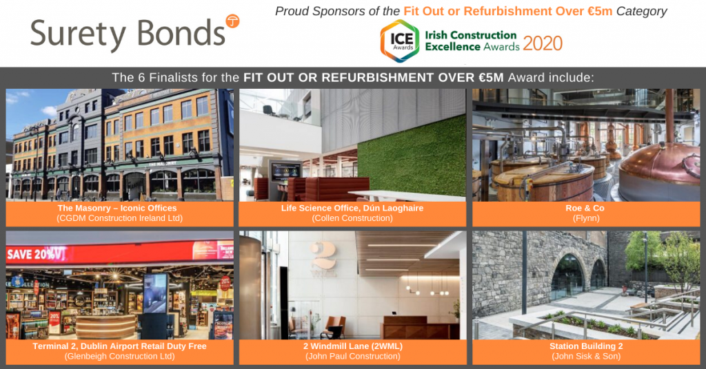 The 6 finalists for the 'Fit Out or Refurbishment Over €5M' award (Irish Construction Excellence Awards 2020)