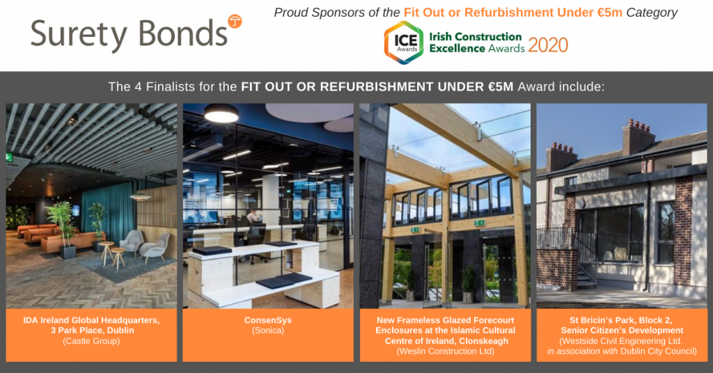 The 4 finalists for the 'Fit Out or Refurbishment Under €5M' award (Irish Construction Excellence Awards 2020)